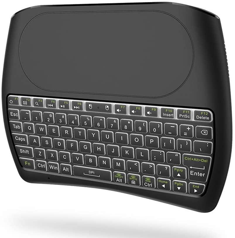 Ovegna D8: Ovegna D8 Wireless Mini Keyboard, wireless: 2.4Ghz wireless (QWERTY), Backlit (RGB), Ergonomic Wireless, Touchpad, Smart TV, Raspberry, mini PC, HTPC , Console, Computer and Android Hover