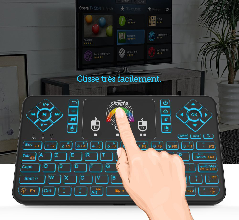 Ovegna Q9 AZERTY, Mini 2.4Ghz Wireless Keyboard, Wireless with Touchpad, LED Backlit RGB, for Smart TV, PC, Mini PC, Raspberry PI 2/3, Consoles, Laptop, PC and Android Box Hover