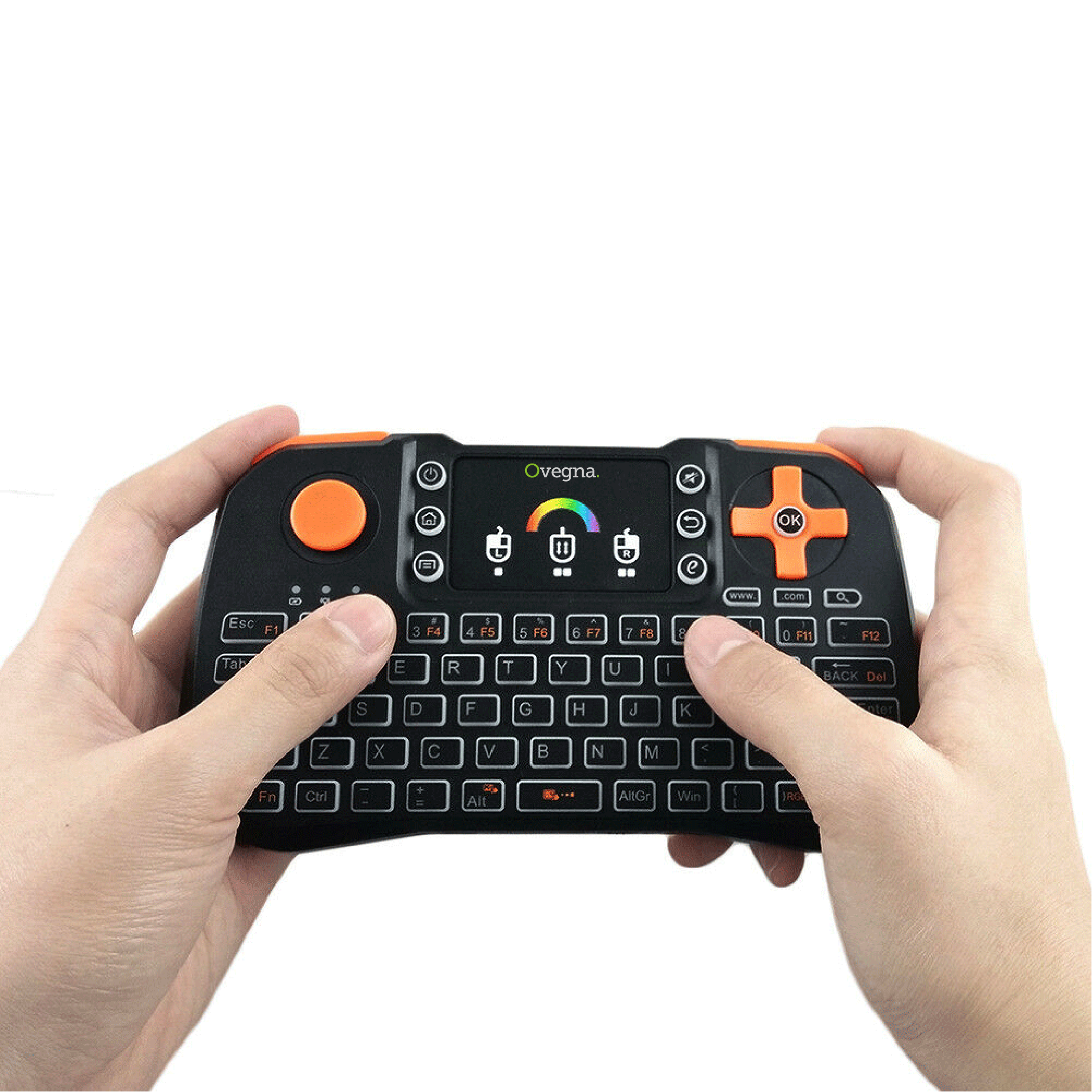 Ovegna Z10: Mini Keyboard 4 in 1 (Small, Keyboard, Remote Control and Console), AZERTY, 2.4 GHz Wireless with Touchpad, for Smart TV, Mac, PC, Mini PC, Raspberry PI 2/3, Consoles and Android Box Hover
