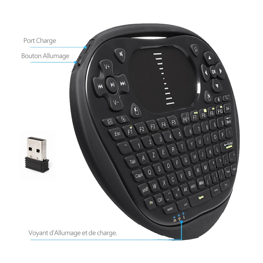 Ovegna T8: Mini 2.4Ghz Wireless AZERTY Keyboard, Wireless with Touchpad, for Smart TV, PC, Mini PC, Raspberry PI 2/3, Consoles, Laptop, PC and Android Box