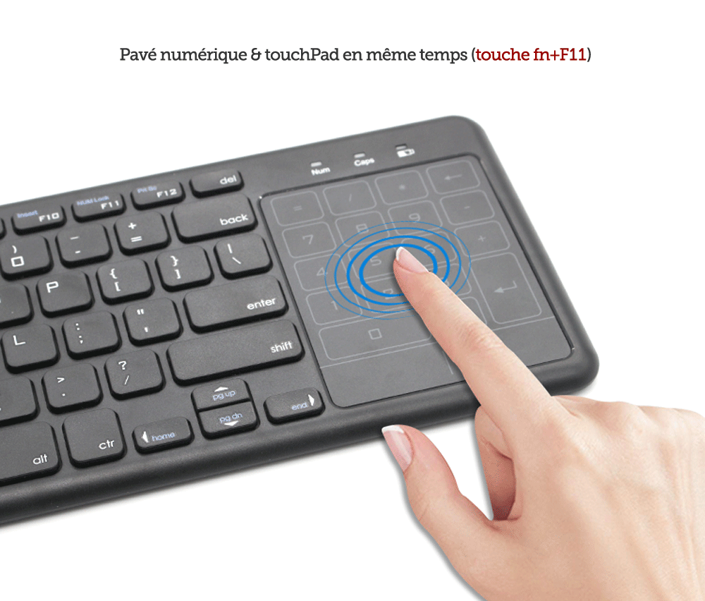 Ovegna T2 2.4GHz Wireless Touch Pad (AZERTY) Slim Touchpad and Number Pad ABS Plastic Coating for Smart TV, Android Box, Raspberry, Mac OS, Linux, Android, Windows, HTPC