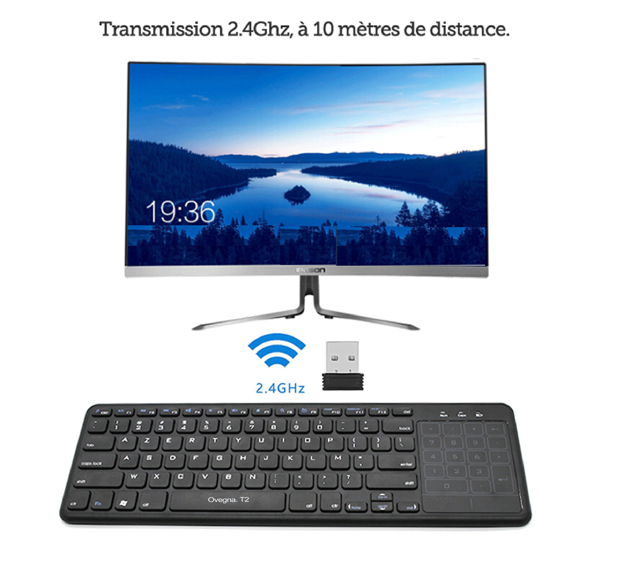Ovegna T2 2.4GHz Wireless Touch Pad (AZERTY) Slim Touchpad and Number Pad ABS Plastic Coating for Smart TV, Android Box, Raspberry, Mac OS, Linux, Android, Windows, HTPC Hover