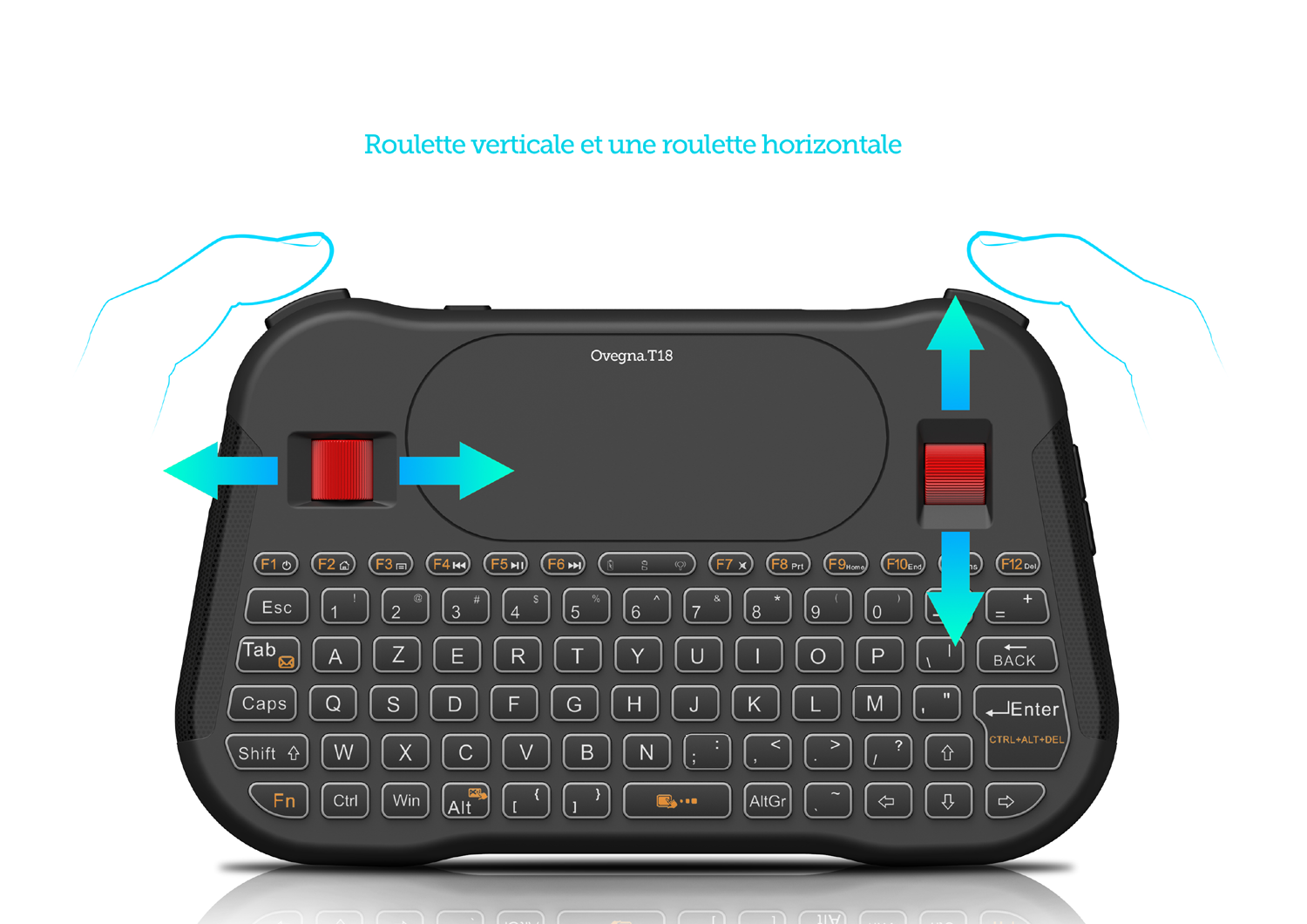 Ovegna T18: Mini Wireless Keyboard (AZERTY), Wireless 2.4Ghz, Touchpad, Rechargeable Battery, RGB backlit, for Smart TV, PC, Mini PC, Mac, Raspberry PI 2/3/4, Consoles, Laptop and Android Box Hover