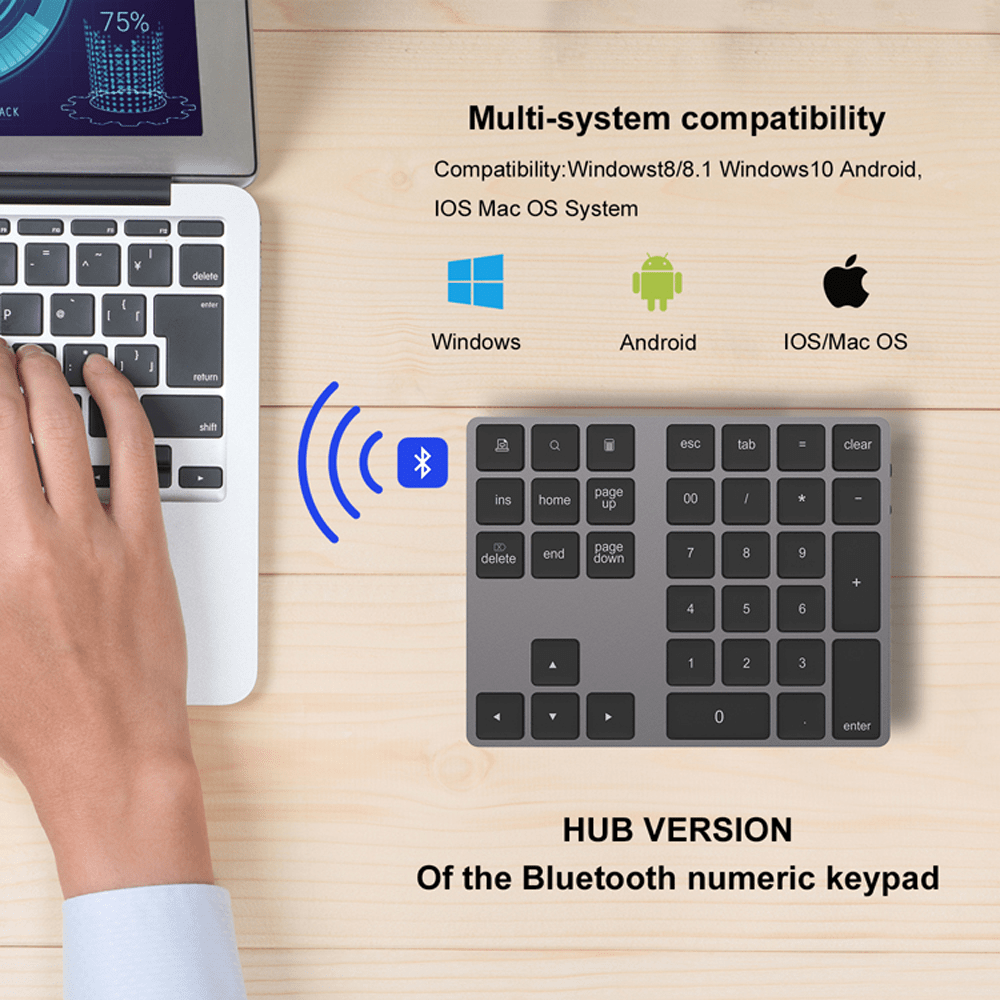 Ovegna BT18: Numeric Keyboard Extension, Wireless, Bluetooth 3.0, with integrated Lithium Battery, for Mac / Mac Pro, MacBook, Tablet, iPad, PC, Laptop, MacOS, Windows, Android