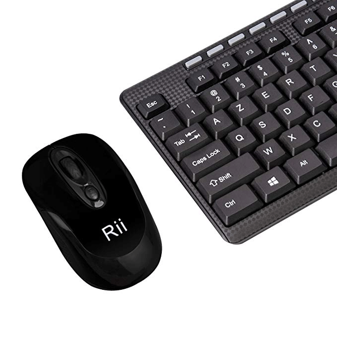 Original Rii RK905: AZERTY Wireless Keyboard and Mouse Set, 2.4Ghz Wireless, Compact, Ultra-Thin, 108-Key, for Raspberry Pi, PC / Smart TV, Windows, Linux, MacOS, PC and Consoles Hover