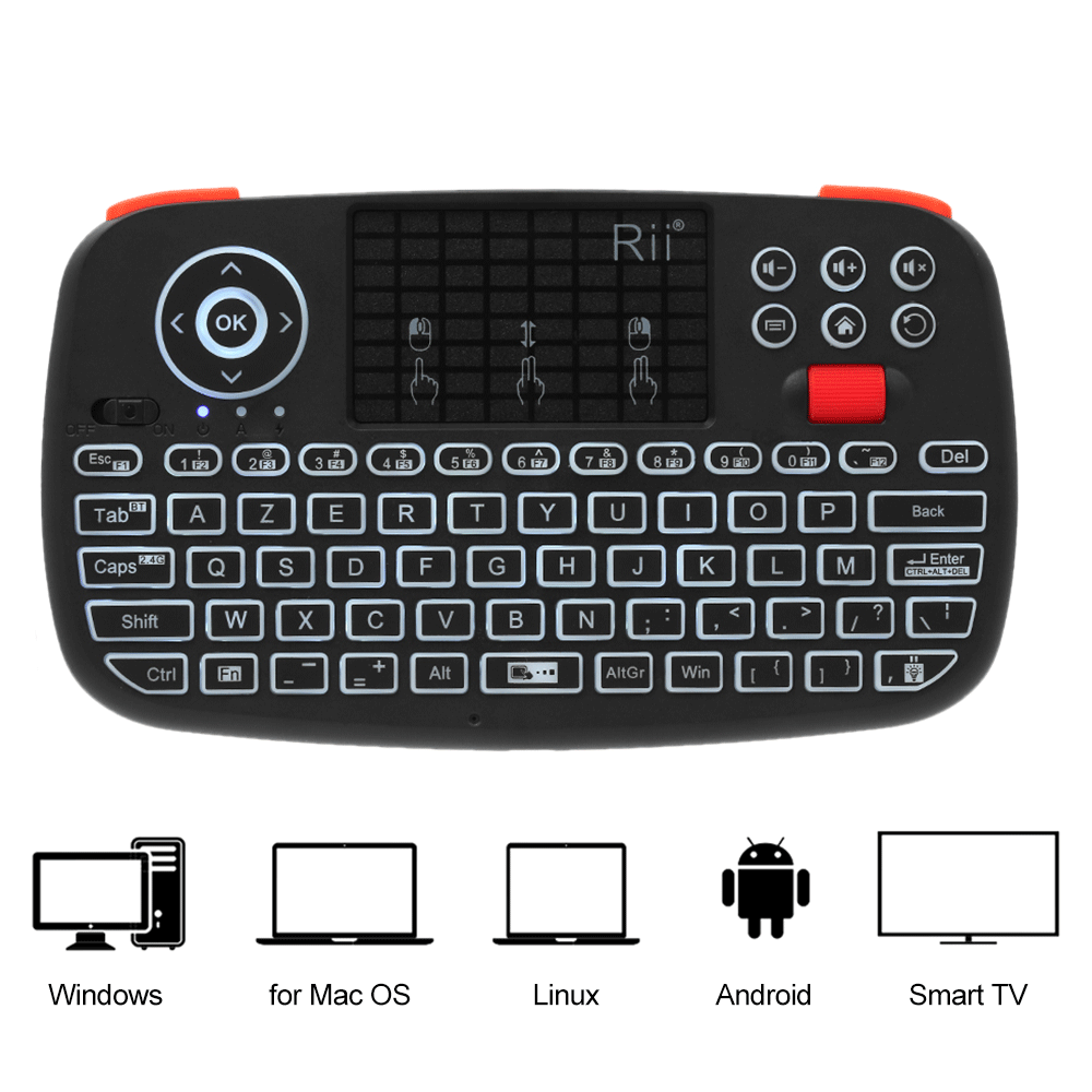 (New) Rii i4: Mini Wireless Keyboard, 2 in 1 (Bluetooth & Wireless 2.4Ghz), QWERTY, Backlit, TouchPad, for iOS, Android, Android Box, Smartphone, PS4, Xbox, Apple TV, Tablet, Console , PC Hover