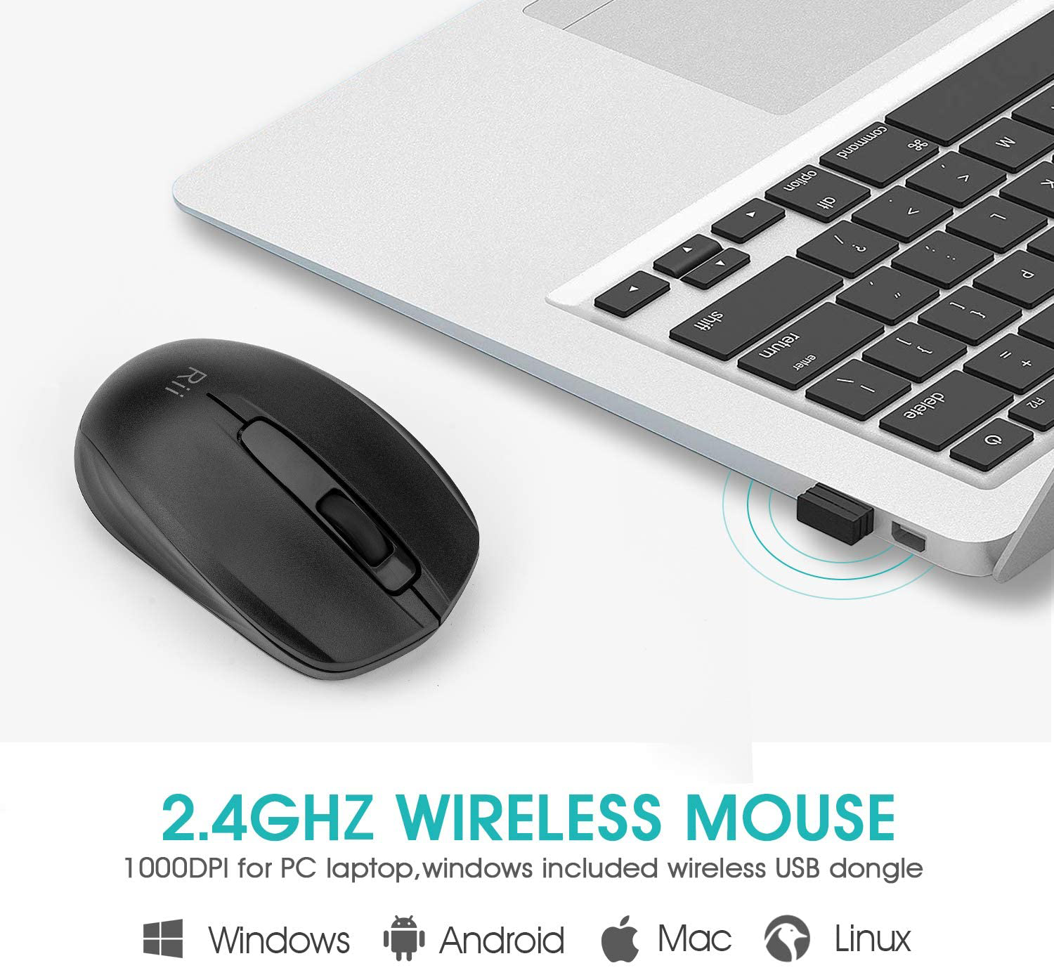 Rii Wireless Mouse,2.4G USB Wireless Mice 1000 DPI Optical PC Laptop Computer Mouse with Nano Receiver for School Kids Office Home Hover